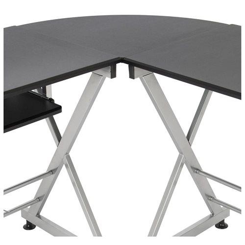 L-Shape Wooden Corner Desk - Black 3