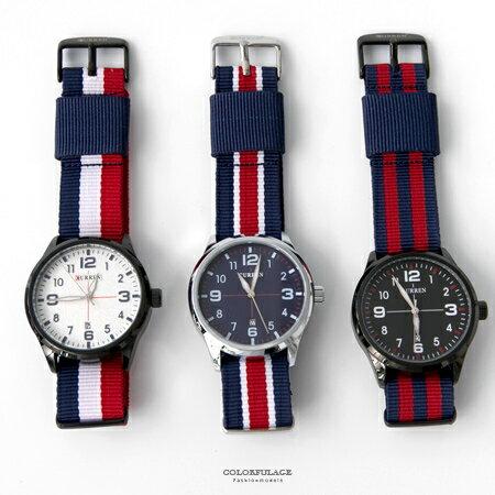 手錶 英倫學院厚實帥氣條紋帆布錶帶腕錶 休閒 中性款式 柒彩年代~NE1842~日期窗