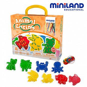 西班牙【Miniland】可愛動物穿線串串樂-8入組 - 限時優惠好康折扣