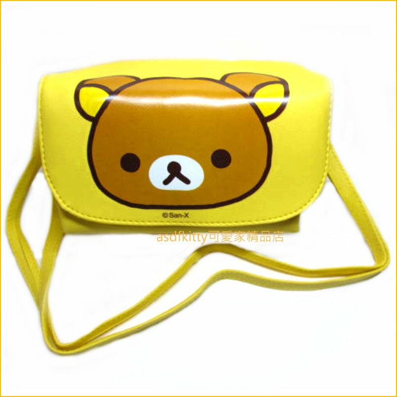asdfkitty可愛家☆日本san-x懶懶熊/拉拉熊黃色側背包/斜背包/手機包-台灣授權正版