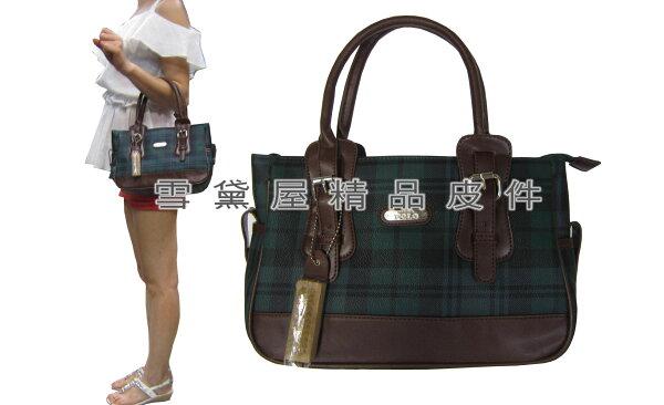 ~雪黛屋~POLOsandia手提包小容量專櫃花紋手提包淑女包進口防水防刮皮革+棉質內裡布G760-9551S