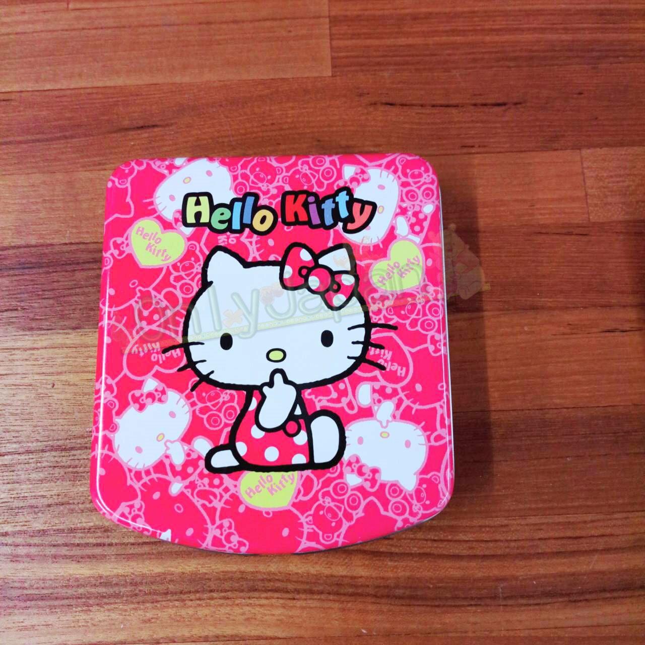 19020100092 便條紙鐵盒-KT吮指側坐桃 凱蒂貓kitty memo紙 便籤 辦公室小物 便條紙 文具 真愛日本