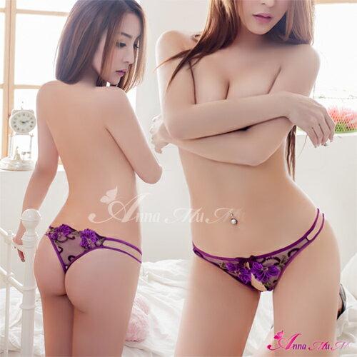 【亞娜絲情趣用品】醉紫蜜戀!性感前開襠丁字褲#紫性感睡衣