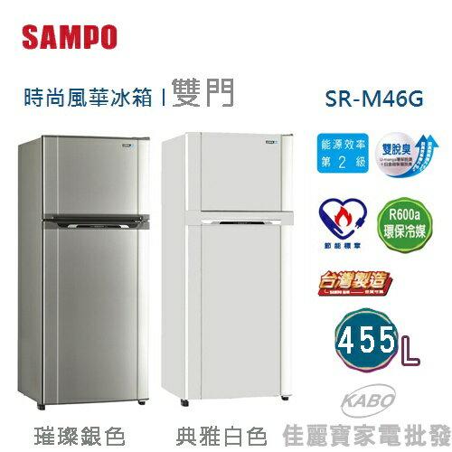 <br/><br/>  【佳麗寶】-(聲寶)省電脫臭雙門冰箱-455公升【SR-M46G】<br/><br/>