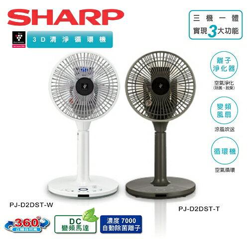 【佳麗寶】-(SHARP夏普)自動除菌離子3D清淨循環機 【PJ-D2DST】