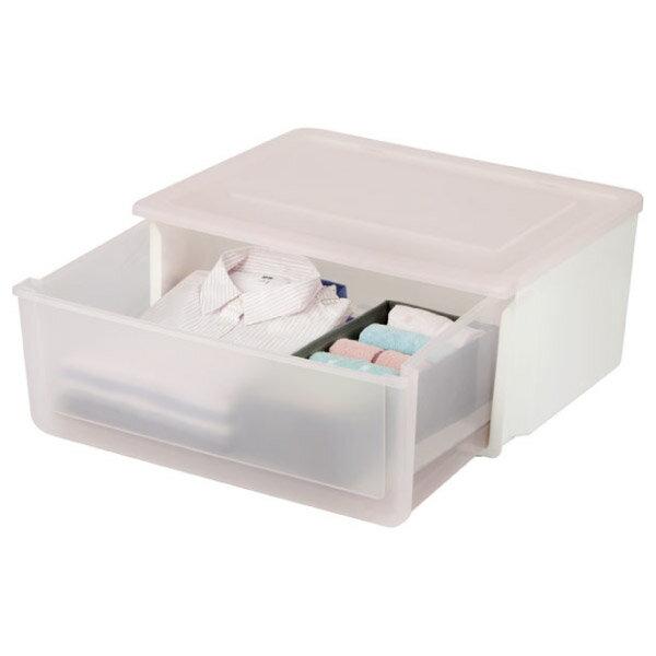 堆疊收納籃抽屜式粉紅透明FLATTESB-DRCL-P1RONITORI宜得利家居