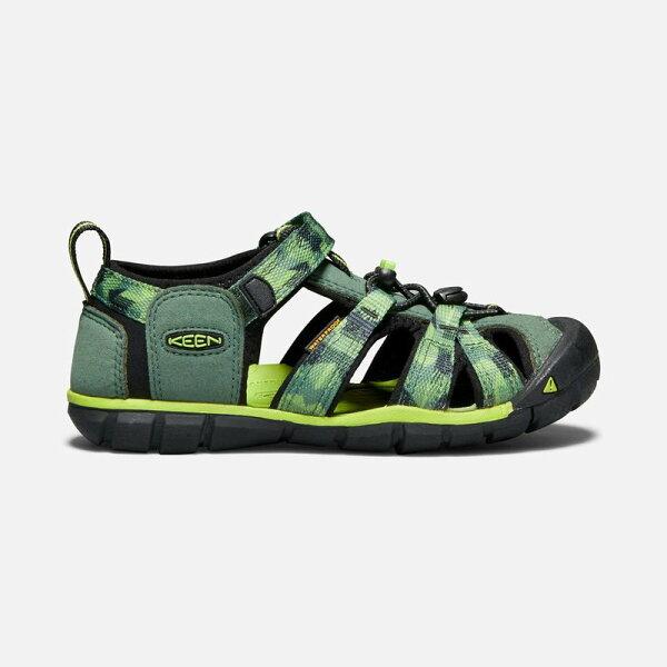 ├登山樂┤美國KEENSEACAMPIICNX童護趾涼鞋-綠草綠印花#1018113