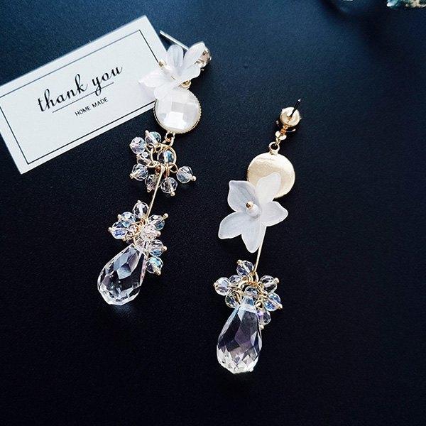 耳環透明花朵水滴珠珠不對稱吊墜耳釘耳環【DD1805026】BOBI0524