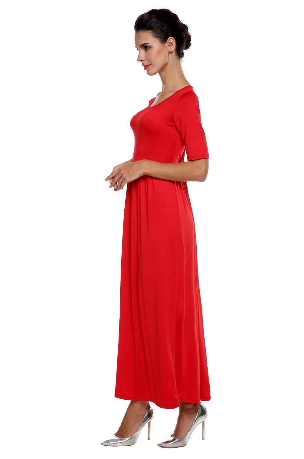 Women Medium Sleeve Solid Party Maxi Long Full Dress 3