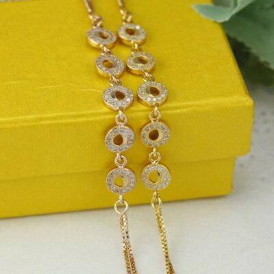玫瑰金手鍊 鑲鑽純銀手環 ~ 百搭 月亮情人節生日 女飾品2色73dl78~ ~~米蘭 ~