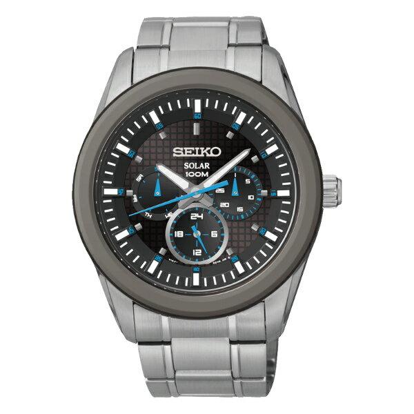 Seiko Spirit V14J-0CD0B(SNE349P1)日曆三環太陽能腕錶/黑面42mm