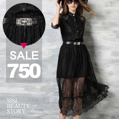 SISI【D6034】超美透視蕾絲立領中袖縮腰顯瘦中長版連身裙洋裝(附腰帶)