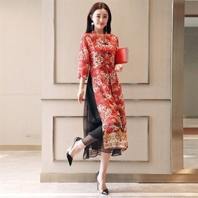 連身裙改良式旗袍-七分袖雪紡中國風中長款女連衣裙2色73ri23【獨家進口】【米蘭精品】