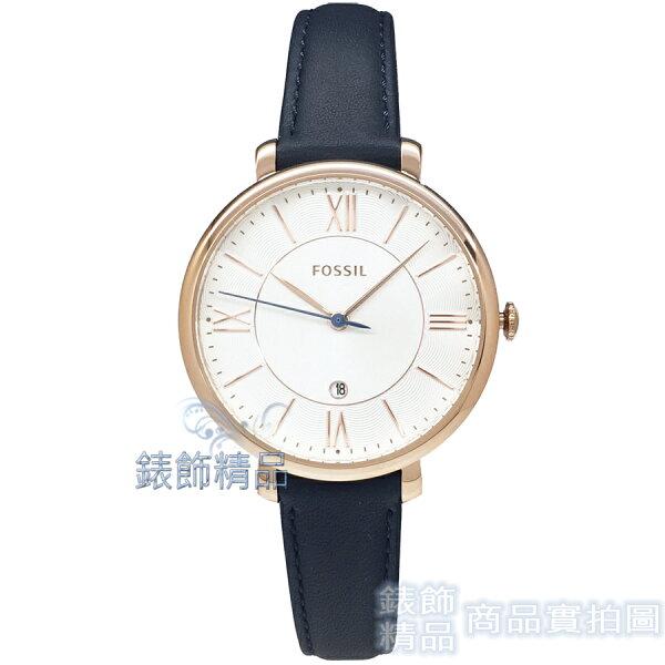 【錶飾精品】FOSSIL手錶ES3843白面玫金框深藍色錶帶36mm女錶