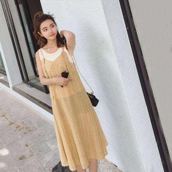 PS Mall  小清新碎花兩件套連身裙 洋裝【T1495】 0