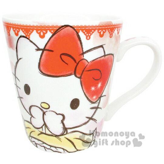 〔小禮堂〕Hello Kitty 陶瓷馬克杯《紅.素描風.緞帶.洋裝》可愛實用