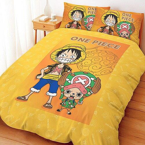 【UNIPRO】航海王 One Piece 魯夫&喬巴 5X6.2尺 雙人床包組(枕頭套X2+床單X1) 海賊王 正版授權 台灣精品
