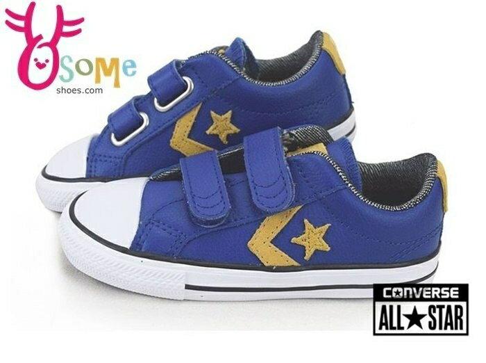 All STAR★Converse小童帆布鞋 皮革 藍 黃 低筒 魔鬼氈休閒鞋H9834#藍色◆OSOME奧森鞋業