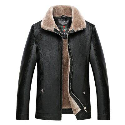 皮衣夾克外套-皮毛一體加厚翻領男夾克3色73pn18【獨家進口】【米蘭精品】 0