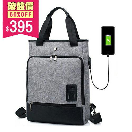 <br/><br/> 男女款後背包 韓版多隔層多功能外接USB 手機 充電接口 手提包 中性包 包飾衣院 J1123 現貨+預購(附發票)<br/><br/>
