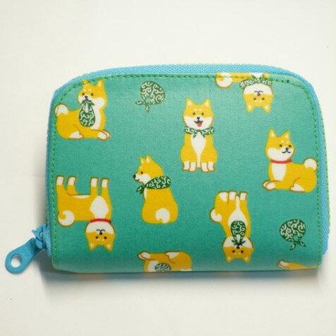 日本柴犬(綠) 防水布 短夾 皮夾 錢包 零錢包