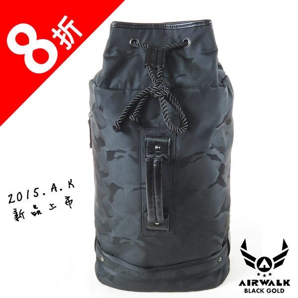 AIRWALK- 【禾雅】頂級黑金皮標 2015年最新上市 狂野迷彩系列 防潑水 束口單肩包/後背包 - 迷彩黑