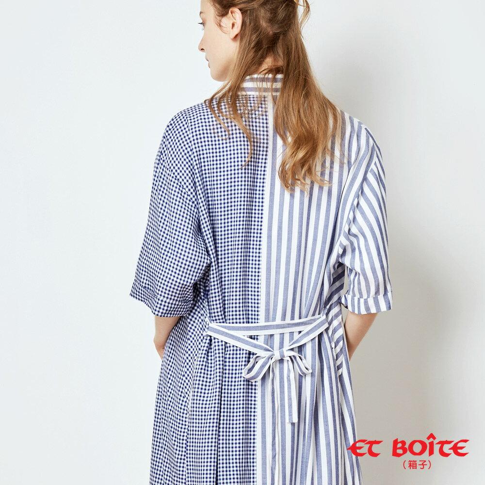 【春夏新品】寬袖開衩收腰長版罩衫(淺藍條紋) - BLUE WAY  ET BOiTE 箱子 3