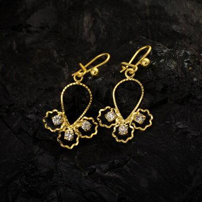 純銀耳環鍍18K金鑲鑽耳飾~優雅秀氣溫柔生日情人節 女飾品73cx49~ ~~米蘭 ~