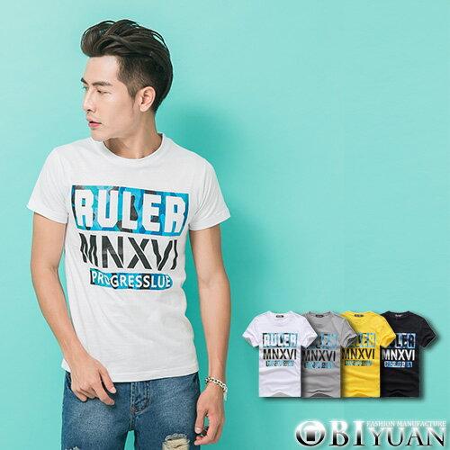 短袖T恤~L35109~OBI YUAN街頭感RULER迷彩拼接印花圓領短袖上衣 共4色