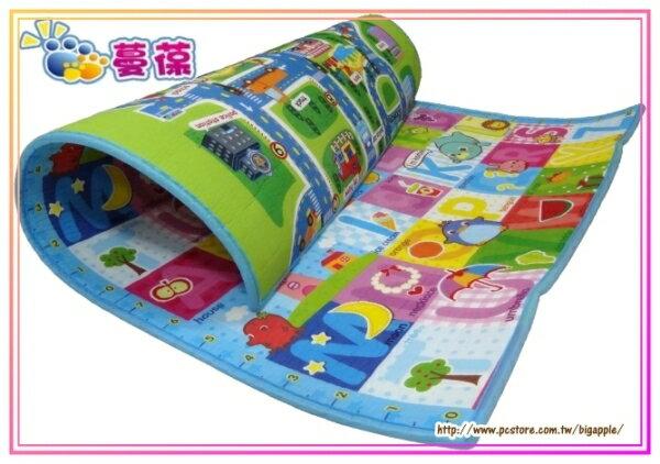 【淘氣寶寶】《蔓葆嬰兒爬行墊 》城市+歡樂字母雙面2cm特厚款 200x160x2.0cm遊戲墊/地墊/保潔墊
