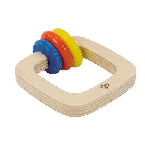 【淘氣寶寶】【德國Hape愛傑卡】木製嬰兒手搖鈴-方【1入】