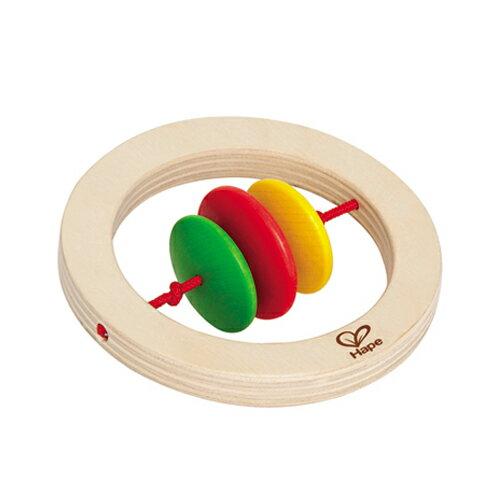 【淘氣寶寶】【德國Hape愛傑卡】木製嬰兒手搖鈴-圓【1入】