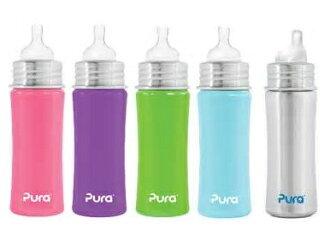 【淘氣寶寶】Pura Stainless Kiki 不鏽鋼奶瓶*寬口徑 11oz 不含雙酚A (6m+)【保證原廠公司貨】