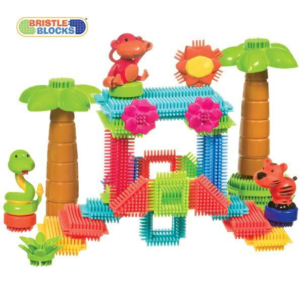 【淘氣寶寶】美國B.Toys感統玩具】-Battat布萊斯特鬃毛積木-系列-叢林冒險(58PCS)/益智遊戲(58pcs)