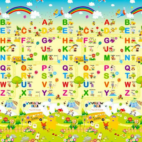 【淘氣寶寶】【原裝進口】韓國製Parklon 帕龍地墊雙面PVC包邊款(長190*寬130*厚1.5cm)加大加厚款 贈神奇3原色透明貼