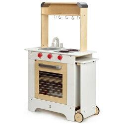 【淘氣寶寶●限量加贈裝飾貼紙】德國 Hape 愛傑卡廚房系列 移動式點餐廚具台