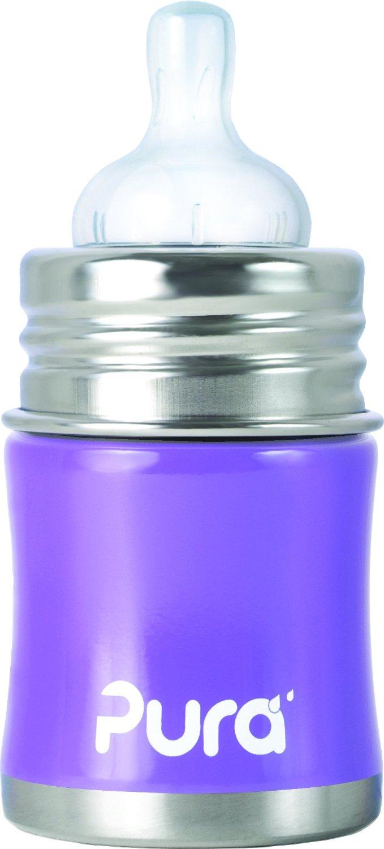【淘氣寶寶】美國 Pura Stainless Kiki 不鏽鋼奶瓶(寬口徑/紫) 5oz =150ml 不含雙酚A 【保證原廠公司貨】