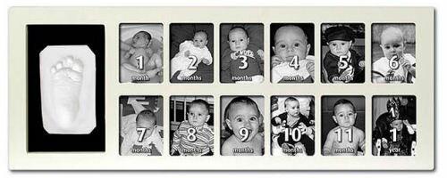 【淘氣寶寶】比利時【BabyArt】12框1stYearPrintFrame週年手腳印紀念相框寶寶月份相框白色(最佳彌月禮)