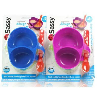 【淘氣寶寶】Sassy寶寶分隔碗/餐具(藍)(粉)