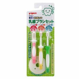 【淘氣寶寶】Pigeon 貝親 乳齒牙刷組 (3入) 第一階段~第三階段(P10541)