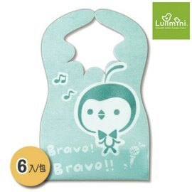 【淘氣寶寶】Lullmini Floret 嬰幼童拋棄型圍兜 - 樂企鵝 (6入) 台灣設計/製造 【吸水不織布+PE防水膜.髒汙不滲透】