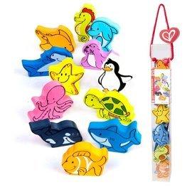 【淘氣寶寶】德國Hape愛傑卡 拼圖系列-快樂積木組-海洋動物.數字學習.1歲以上