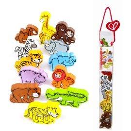 【淘氣寶寶】德國Hape愛傑卡 拼圖系列-快樂積木組-野生動物.數字學習.1歲以上