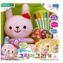 【淘氣寶寶】韓國 Joy up 水洗塗鴉彩繪娃娃 (洗的掉彩繪水洗娃娃) 粉紅兔子款/ 可重覆水洗~