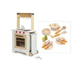 【紫貝殼】德國【Hape愛傑卡】移動點餐廚具台+主廚配件