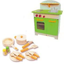 【淘氣寶寶】德國【Hape愛傑卡】大型廚具台(綠色)+主廚配件(限量組合)