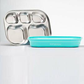 【淘氣寶寶】美國 Kangovou小袋鼠不鏽鋼安全分隔餐盤-薄荷綠