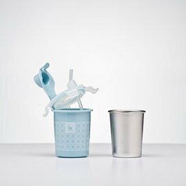 【淘氣寶寶*獨家加贈寶特瓶水杯組】美國Kangovou小袋鼠不鏽鋼安全兒童兩用杯-野莓藍