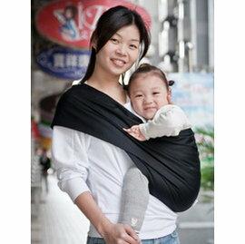 【淘氣寶寶】Una背巾 (哺乳揹巾) 推車最佳支援嬰兒背巾☆純粹黑☆台灣製【贈美國製醫療級香草奶嘴*1顆(原價199元】