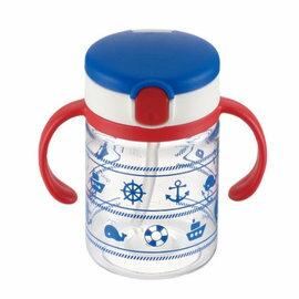 【淘氣寶寶】日本《Richell-利其爾》(新)LC兒童戶外吸管水杯-第二代喝水杯吸管學習杯200ml海軍藍